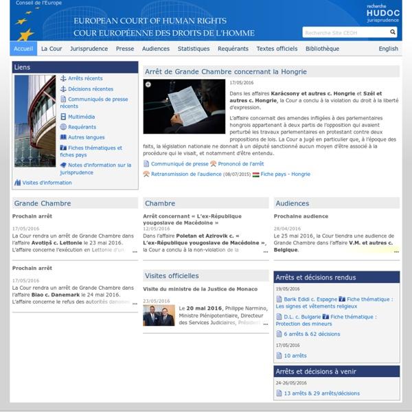 Cour européenne des droits de l'homme - CEDH, ECHR, actualités, informations, communiqués de presse