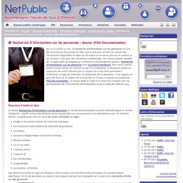 Recherche d'informations sur les personnes : dossier (Pôle Documentation)