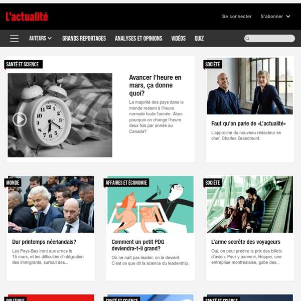 L'actualité - Informations politique, monde, économie, société, environnement, santé, science et culture.