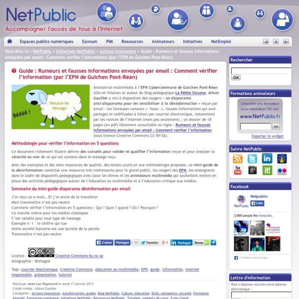 Guide : Rumeurs et fausses informations envoyées par email : Comment vérifier l'information (par l'EPN de Guichen Pont-Réan)