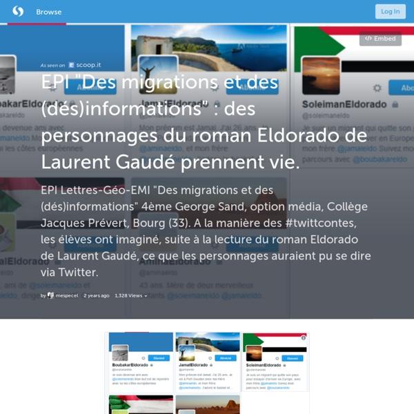 """EPI """"Des migrations et des (dés)informations"""" : des personnages du roman Eldorado de Laurent Gaudé prennent vie. (with images, tweets) · mespecel"""