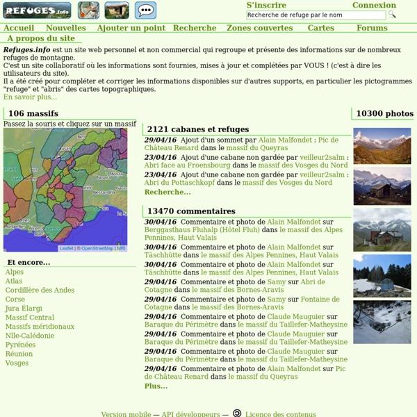 Carte et informations sur les refuges, cabanes et abris de montagne