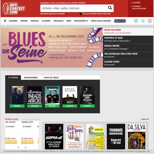 Info Concert : la base d'informations et de reservations concerts et festivals en Europe : Espagne, Italie, France, Suisse, Belgique, Luxembourg, Allemagne