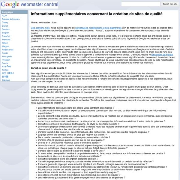 Informations supplémentaires concernant la création de sites de qualité - Google Webmaster Help