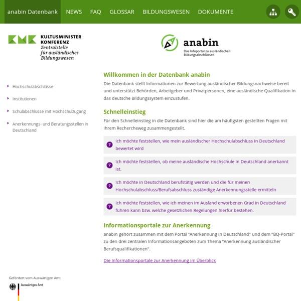 Anabin - Informationssystem zur Anerkennung ausländischer Bildungsabschlüsse: anabin Datenbank