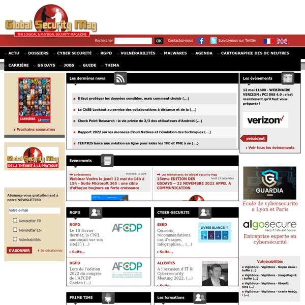 Sécurité informatique Global Security Mag Magazine Online antivirus spywares offres emploi sécurité télécom réseau