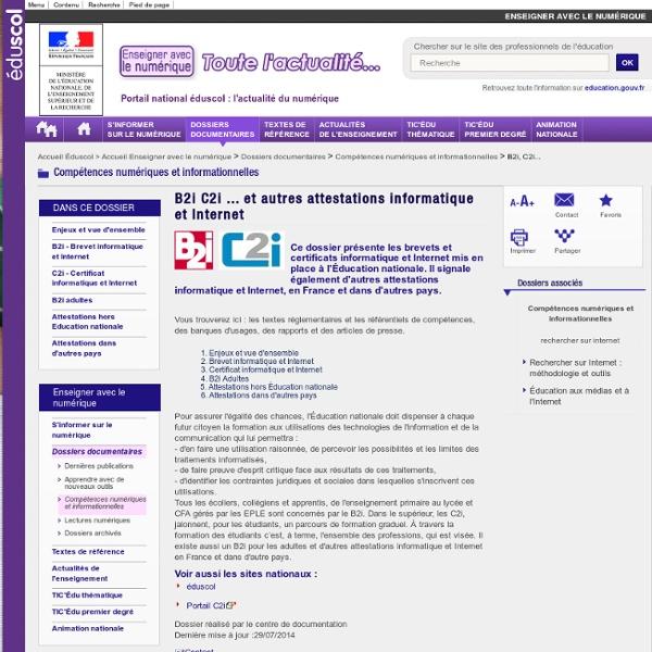 B2i, C2i... Brevet informatique et Internet, Certificat informatique et Internet