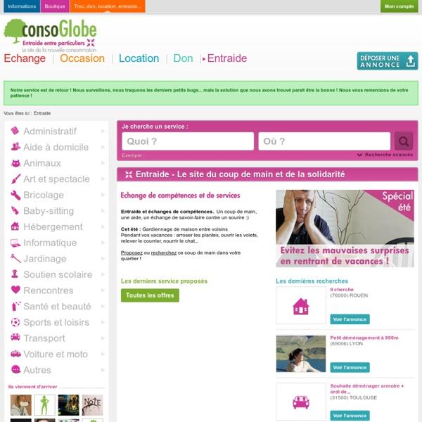 Entraide échange de service : informatique, cours scolaire, jardinage - Entraide consoGlobe