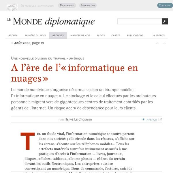 A l'ère de l'« informatique en nuages », par Hervé Le Crosnier