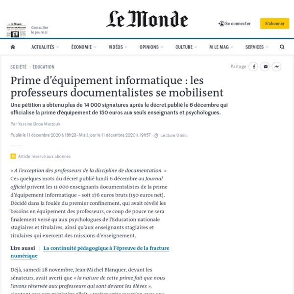 Prime d'équipement informatique: les professeurs documentalistes se mobilisent