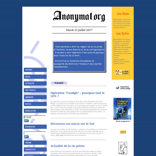 Anonymat.org - Sécurité informatique, mouchard, espiogiciel, spyware, espionnage, intrusion