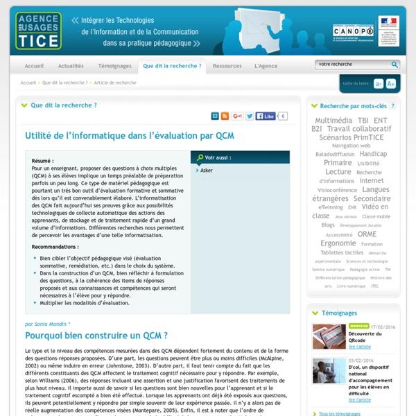 L'Agence nationale des Usages des TICE - Utilité de l'informatique dans l'évaluation par QCM