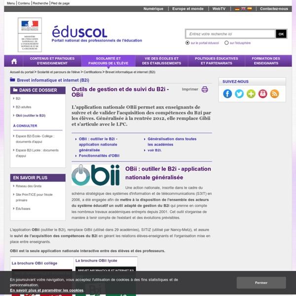 Brevet informatique et internet (B2i) - Obii (outiller le B2i)