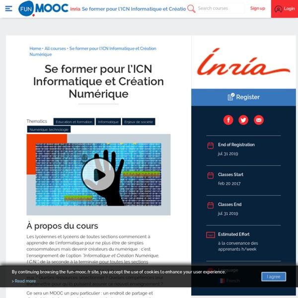 Se former pour l'ICN Informatique et Création Numérique