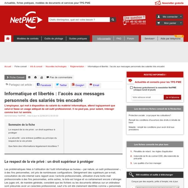 Informatique et libertés : l'accès aux messages personnels des salariés très encadré