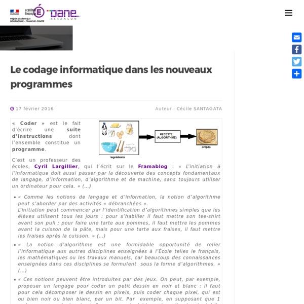 Le codage informatique dans les nouveaux programmes » Délégation Académique du Numérique Educatif