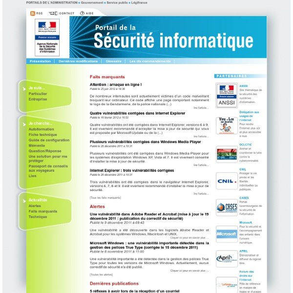 Portail officiel de la sécurité informatique - ANSSI - République française
