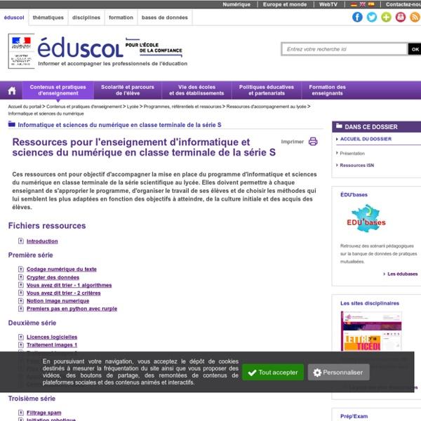Informatique et sciences du numérique - Ressources ISN