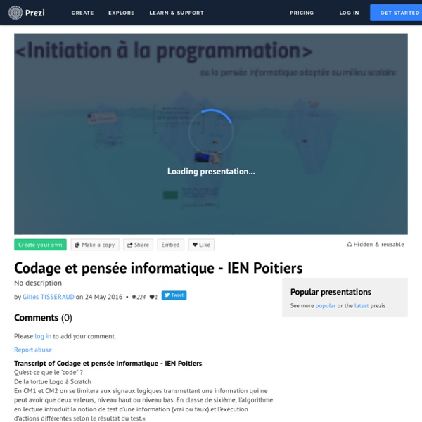 Codage et pensée informatique - IEN Poitiers by Atice Sablé on Prezi