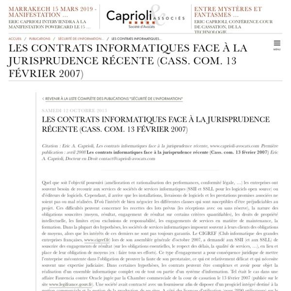 Les contrats informatiques face à la jurisprudence récente (Cass. com. 13 février...
