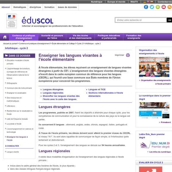 RUB. SITE Éduscol : Enseigner les langues à l'école élémentaire
