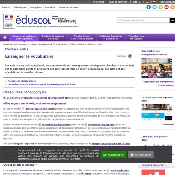 Eduscol : Enseigner le vocabulaire