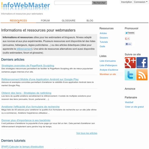 InfoWebMaster - Informations Ressources Webmasters débutant ou confirmés