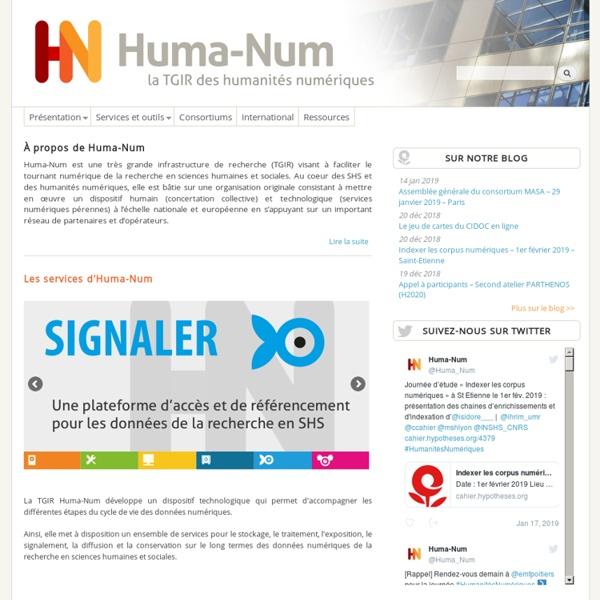 SITE + RSS TGIR Huma-Num : Très Grande Infrastructure de Recherche dédiée aux humanités numériques