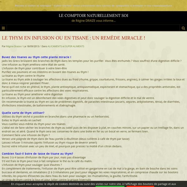 LE THYM EN INFUSION OU EN TISANE : UN REMÈDE MIRACLE ! - LE COMPTOIR MALIN