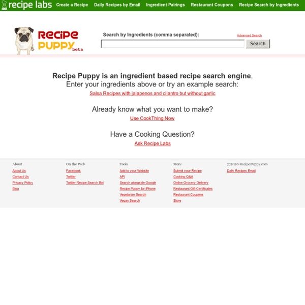 An Ingredient based Recipe Search Engine - Recipe Puppy