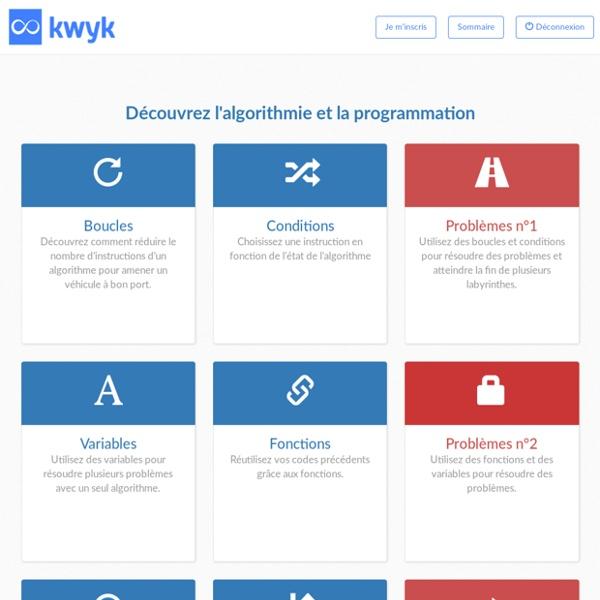 Séquences d'initiation à l'algorithmique basés sur Scratch - Kwyk