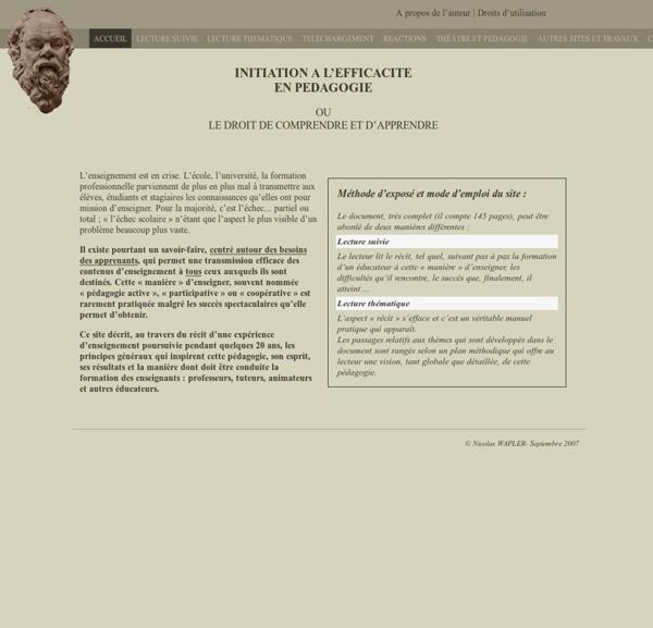 Pédagogie active : initiation à l'efficacité en pédagogie - Nicolas Wapler