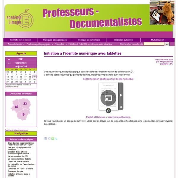 Initiation à l'identité numérique avec tablettes - Professeurs documentalistes de l'académie de Limoges