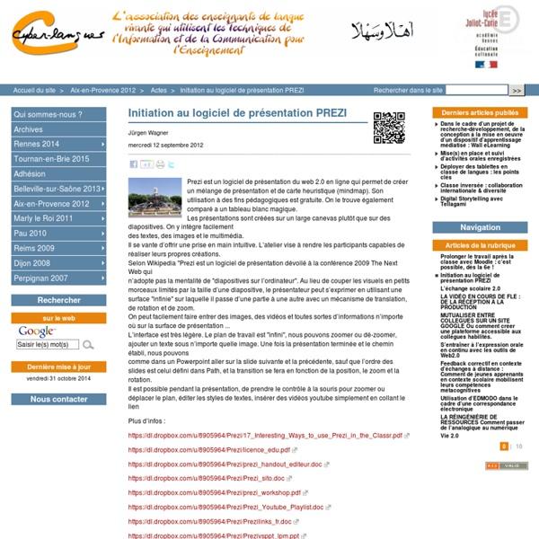 Initiation au logiciel de présentation PREZI