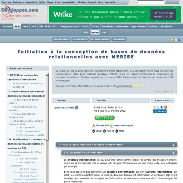 Initiation à la conception de bases de données relationnelles avec MERISE