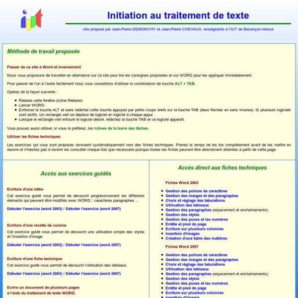 Initiation au traitement de texte WORD, Initiation à Word par des exemples guidés