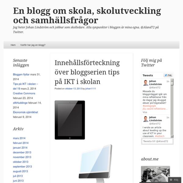 Innehållsförteckning över bloggserien tips på IKT i skolan
