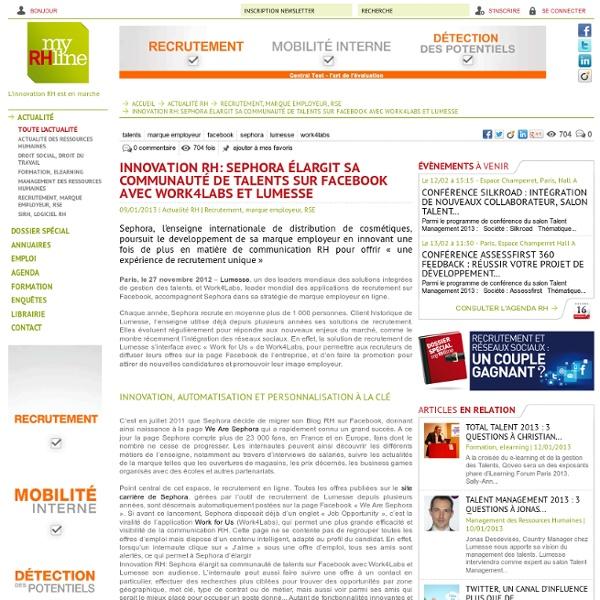 Innovation RH: Sephora élargit sa communauté de talents sur Facebook avec Work4Labs et Lumesse