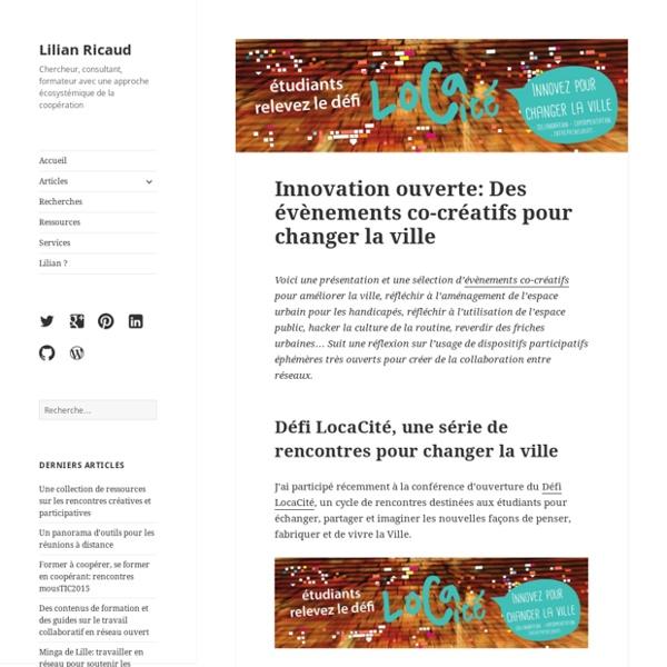 Innovation ouverte: Des évènements co-créatifs pour changer la ville