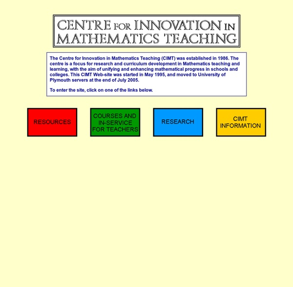 Centre for Innovation in Mathematics Teaching