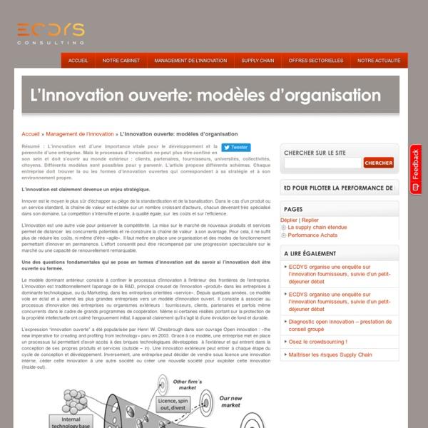 L'Innovation ouverte: modèles d'organisation