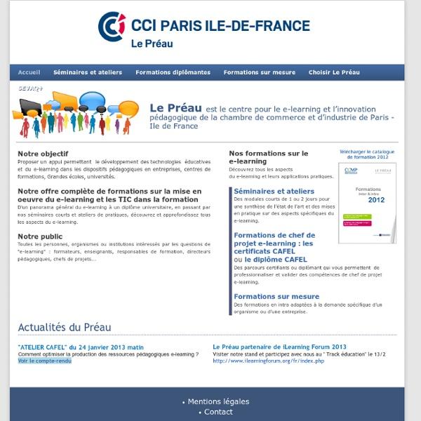Le Préau, CCI de Paris, Centre pour le e-Learning et l'innovation pédagogique