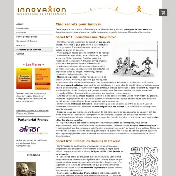 5 secrets pour innover - innovaxion, experts en management de projets, specialistes de microsoft project.