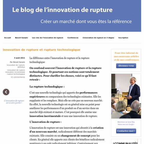 Innovation de rupture et rupture technologique