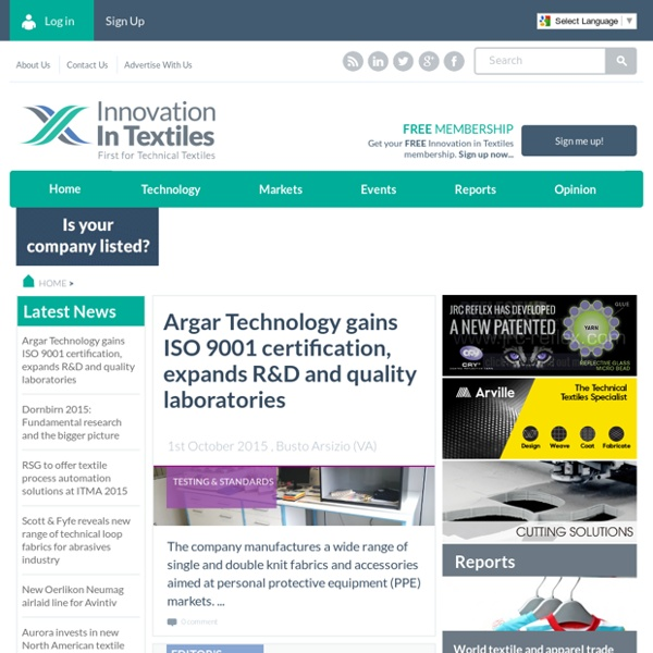 Innovation in Textiles - Technical Textiles & Smart Textiles