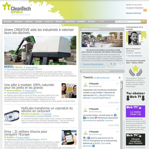 Le magazine des éco-innovations et de l'environnement : actualités, enquêtes, web TV, newsletter, guides