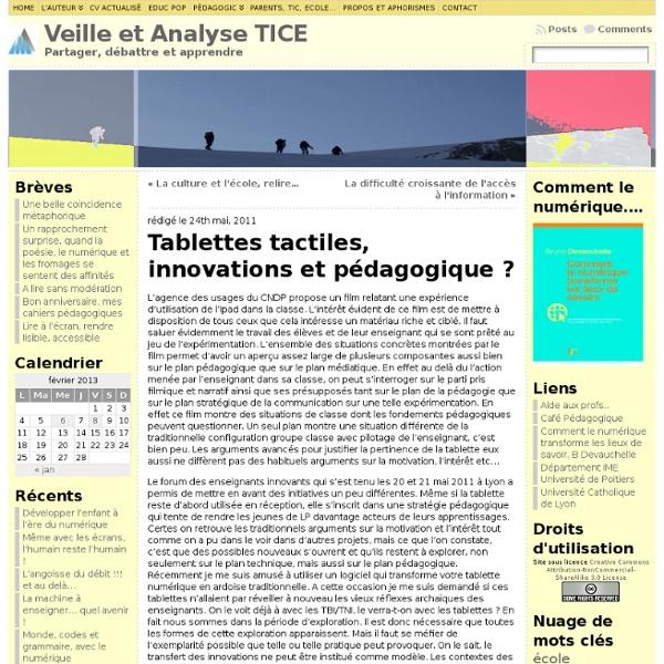 Tablettes tactiles, innovations et pédagogique