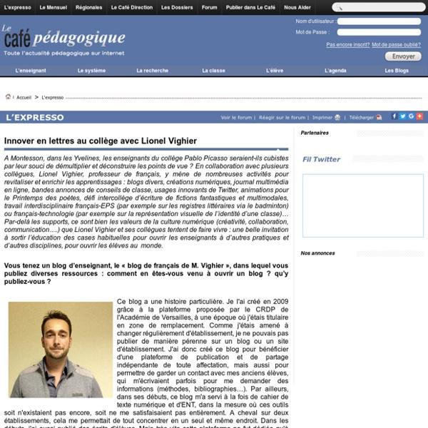 Innover en lettres au collège avec Lionel Vighier