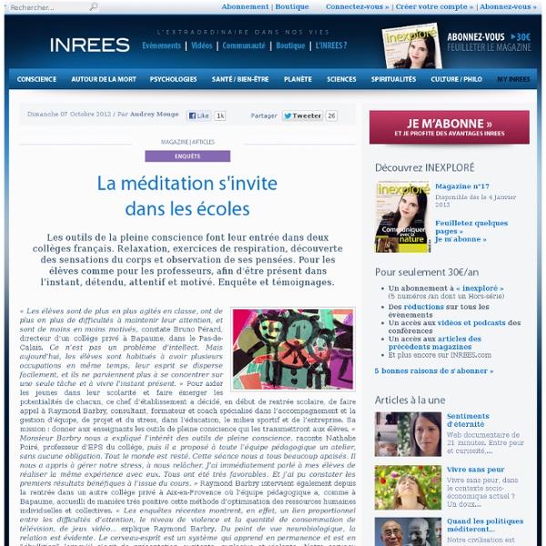 La méditation s'invite dans les écoles