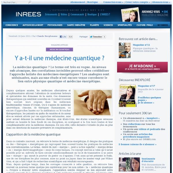 11/2012 Y a-t-il une médecine quantique ? SITE INREE